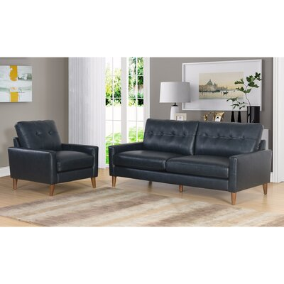 Annalise Wright Mid-Century 2 Piece Leather Living Room Set Upholstery: Navy