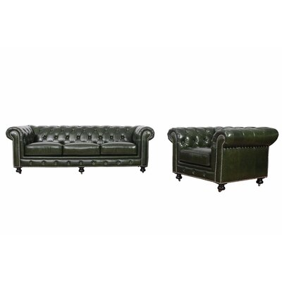 Kilie Virginia Leather 2 Piece Leather Living Room Set