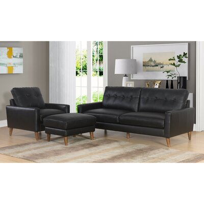 Annalise Wright Mid-Century 3 Piece Leather Living Room Set Upholstery: Black