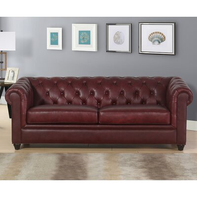 Andria 2 Piece Leather Chesterfield Living Room Set Upholstery: Red