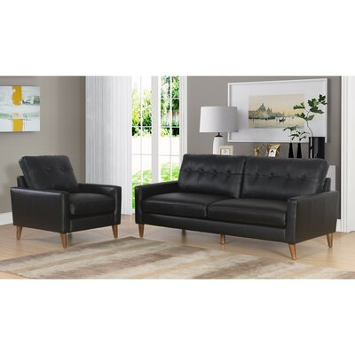 Annalise Wright Mid-Century 2 Piece Leather Living Room Set Upholstery: Black