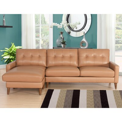 Malaysia Mid-Century Leather Reversible Sectional Upholstery: Camel