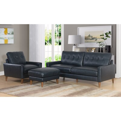 Annalise Wright Mid-Century 3 Piece Leather Living Room Set Upholstery: Navy