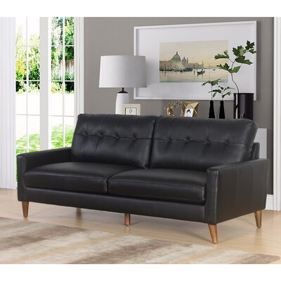 Annalise Wright Mid-Century Leather Sofa Upholstery: Black