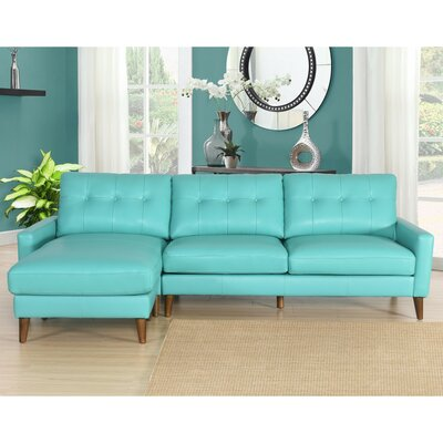 Malaysia Mid-Century Leather Reversible Sectional Upholstery: Teal