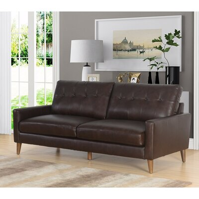 Annalise Wright Leather Sofa Upholstery: Brown