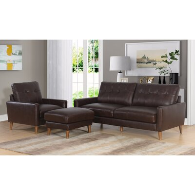 Annalise Wright Mid-Century 3 Piece Leather Living Room Set Upholstery: Brown