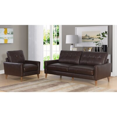 Annalise Wright Mid-Century 2 Piece Leather Living Room Set Upholstery: Brown