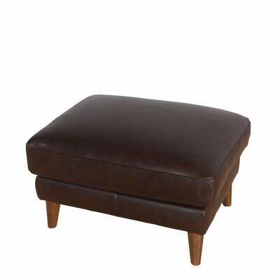 Annalise Wright Mid-Century Leather Ottoman Upholstery: Brown