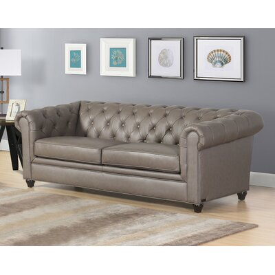 Andria Leather Chesterfield Sofa Upholstery: Gray