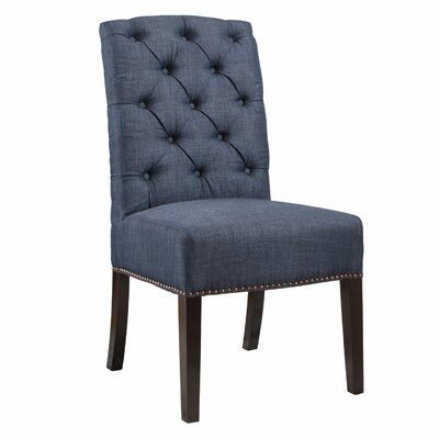Klimas Linen Parsons Upholstered Dining Chair Upholstery Color: Navy