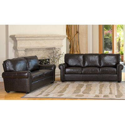 Abbyson Living Bliss Leather Sofa and Loveseat Set in Rich Dark Brown - Sofa and Chair Shop