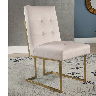 Greenwich Velvet Upholstered Dining Chair Upholstery Color: Ivory