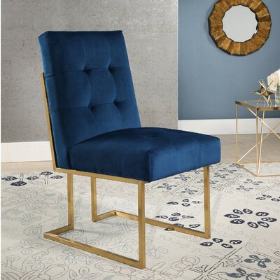 Greenwich Velvet Upholstered Dining Chair Upholstery Color: Navy