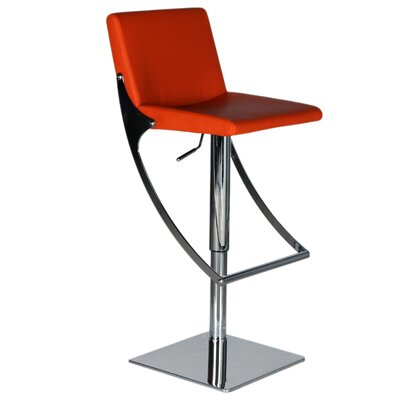 Sonic Adjustable Height Swivel Bar Stool Upholstery: Red