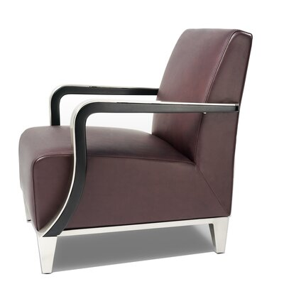 Marbella Leather Arm Chair Color: Brown