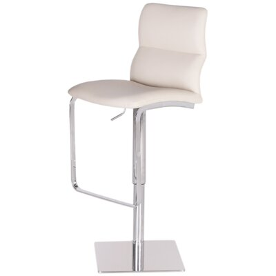 Intel Adjustable Height Swivel Bar Stool Upholstery: White