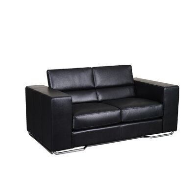 Caslon Leather Sofa Upholstery: Black
