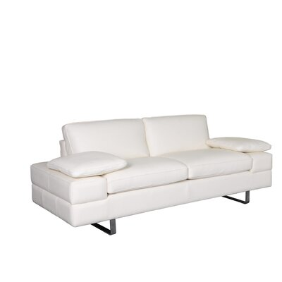 Lindo Leather Loveseat Upholstery: White