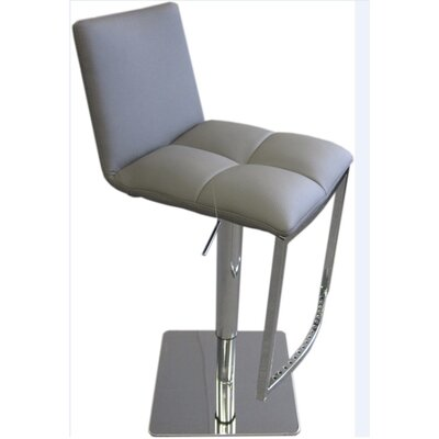 Milano Adjustable Height Swivel Bar Stool Upholstery: Silver