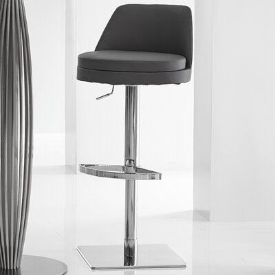 Dante Adjustable Height Swivel Bar Stool Upholstery: Black