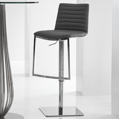 London Adjustable Height Bar Stool Upholstery: Dark Grey