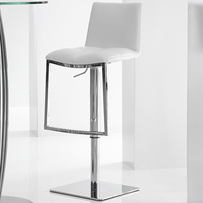 Milano Adjustable Height Swivel Bar Stool Upholstery: White