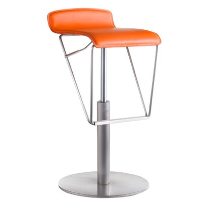 Alfa Adjustable Height Swivel Bar Stool Upholstery: Orange
