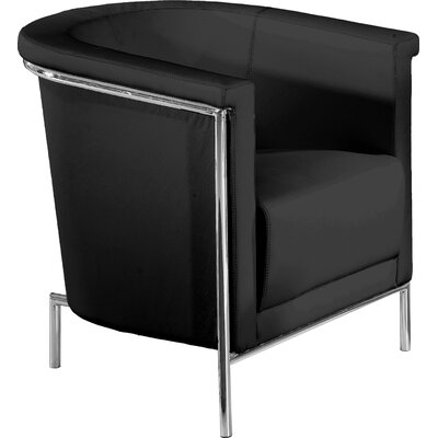 Blanca Leatherette Barrel Chair Color: Black