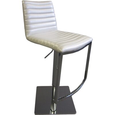 London Adjustable Height Bar Stool Upholstery: White
