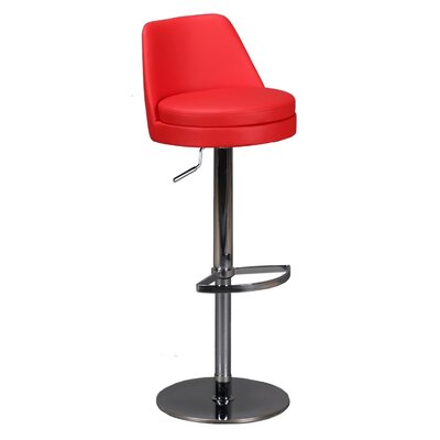 Dante Adjustable Height Swivel Bar Stool Upholstery: Red