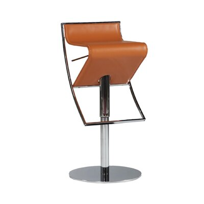 Delta Adjustable Height Swivel Bar Stool Upholstery: Orange