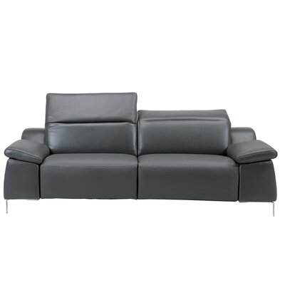 Dionne Electric Motion Genuine Leather Loveseat Color: Dark Gray