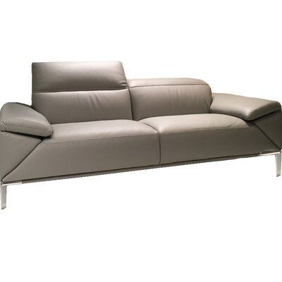 Greta Leather Loveseat Upholstery: Genuine Leather Dark Gray