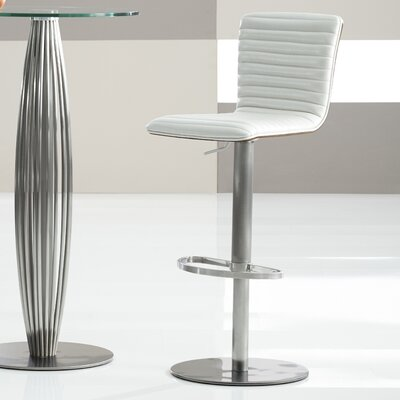 Adjustable Height Bar Stool Upholstery: Pearl White
