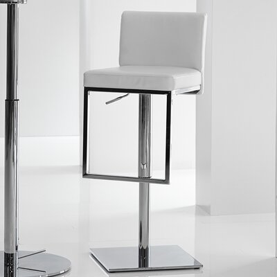 Ann Adjustable Height Swivel Bar Stool Upholstery: White