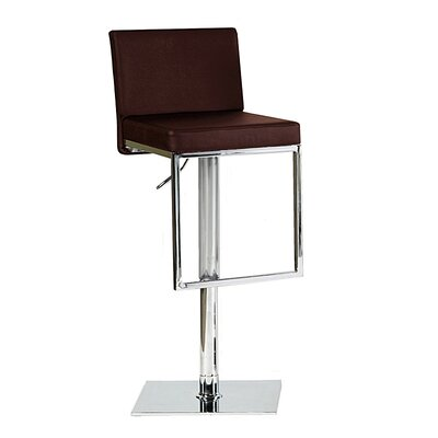 Ann Adjustable Height Swivel Bar Stool Upholstery: Brown