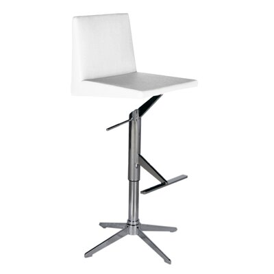 Ethan Adjustable Height Swivel Bar Stool Upholstery: White