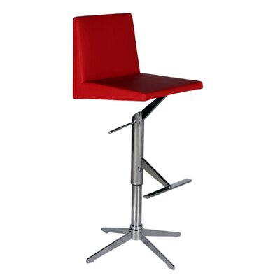 Ethan Adjustable Height Swivel Bar Stool Upholstery: Red