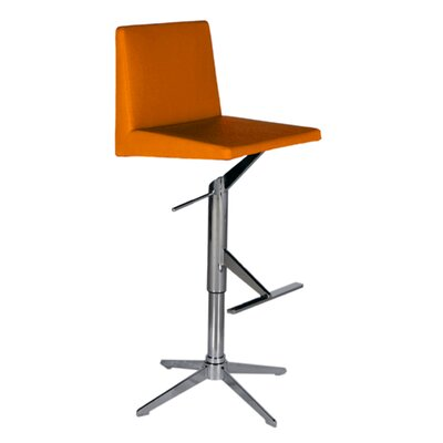 Ethan Adjustable Height Swivel Bar Stool Upholstery: Orange