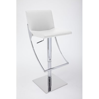 Sonic Adjustable Height Swivel Bar Stool Upholstery: White