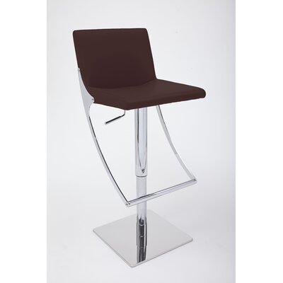 Sonic Adjustable Height Swivel Bar Stool Upholstery: Brown