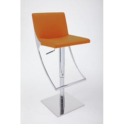 Sonic Adjustable Height Swivel Bar Stool Upholstery: Orange