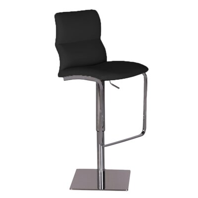Intel Adjustable Height Swivel Bar Stool Upholstery: Black