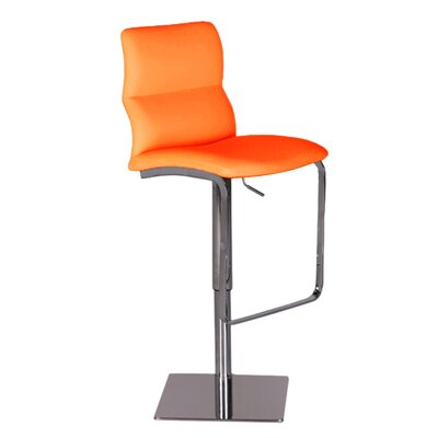 Intel Adjustable Height Swivel Bar Stool Upholstery: Orange