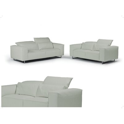 Giadia Leather Loveseat Color: Light Gray