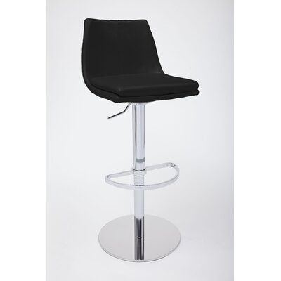 Monte Carlo Adjustable Height Swivel Bar Stool Upholstery: Black