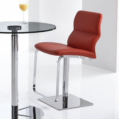 Intel Adjustable Height Swivel Bar Stool Upholstery: Red