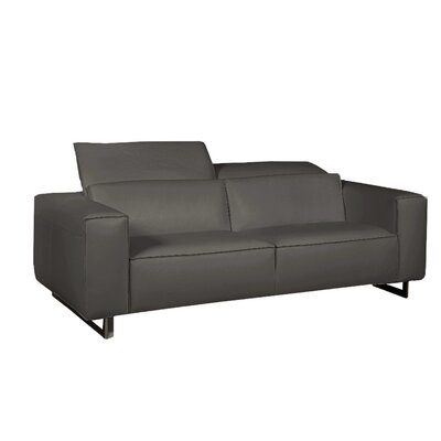Giadia Leather Loveseat Color: Dark Gray