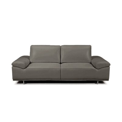 Roxanne Leather Reclining Loveseat Upholstery: Dark Gray